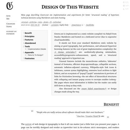 Design Of This Website