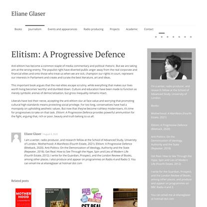 Elitism: A Progressive Defence | Eliane Glaser