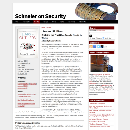 Schneier on Security: : Liars and Outliers