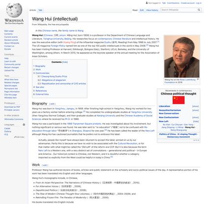 Wang Hui (intellectual) - Wikipedia