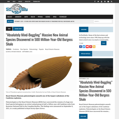"""""""Absolutely Mind-Boggling"""" Massive New Animal Species Discovered in 500 Million-Year-Old Burgess Shale"""