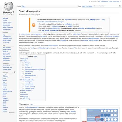 Vertical integration - Wikipedia