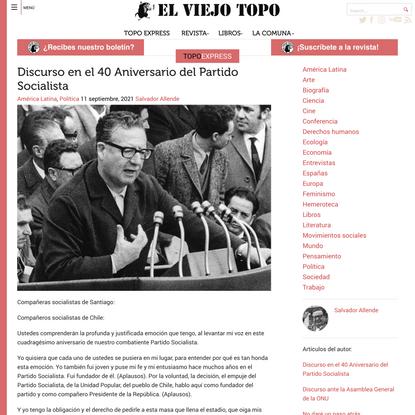 Discurso en el 40 Aniversario del Partido Socialista | El Viejo Topo
