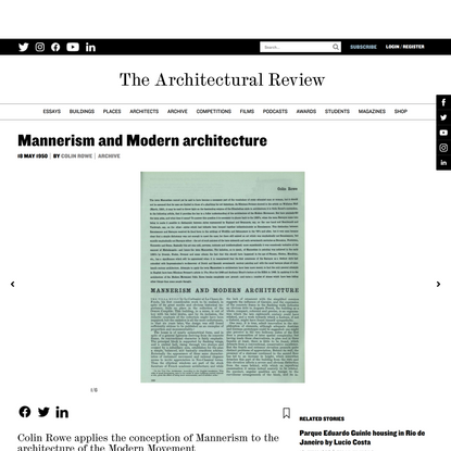Mannerism and Modern architecture - Architectural Review