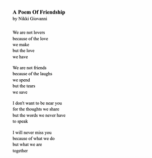 A Poem Of Friendship by Nikki Giovanni