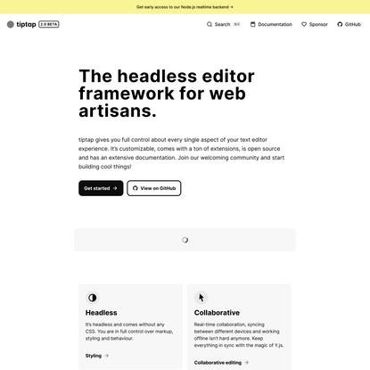 Headless WYSIWYG Text Editor – tiptap editor