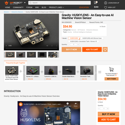 HuskyLens - SEN0305 – An AI Camera: Click, Learn, and Play | DFRobot Electronics