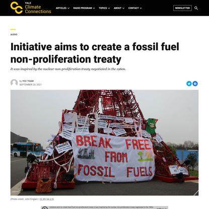 Initiative aims to create a fossil fuel non-proliferation treaty » Yale Climate Connections