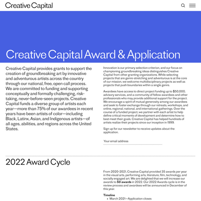 About the Creative Capital Award 02 | Creative Capital