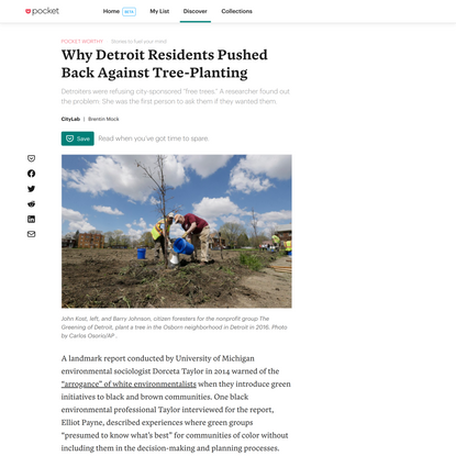 Why Detroit Residents Pushed Back Against Tree-Planting