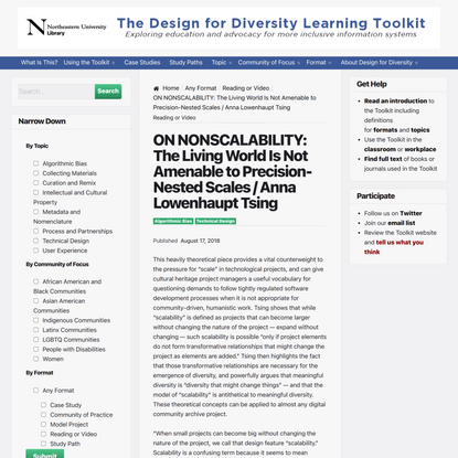 ON NONSCALABILITY: The Living World Is Not Amenable to Precision-Nested Scales / Anna Lowenhaupt Tsing – The Design for Dive...