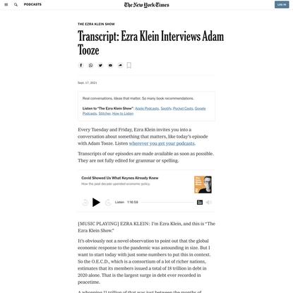 Transcript: Ezra Klein Interviews Adam Tooze