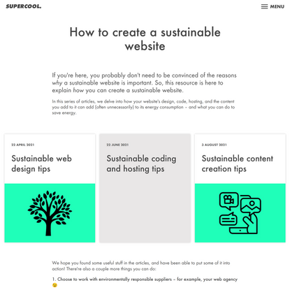How to create a sustainable website   Supercool