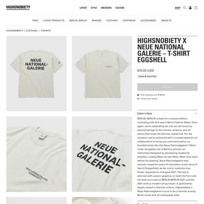 Highsnobiety x Neue National Galerie – T-Shirt Eggshell   Highsnobiety Shop