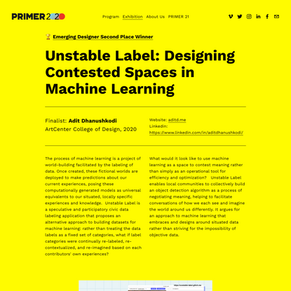 Unstable Label: Designing Contested Spaces in Machine Learning — PRIMER 2020