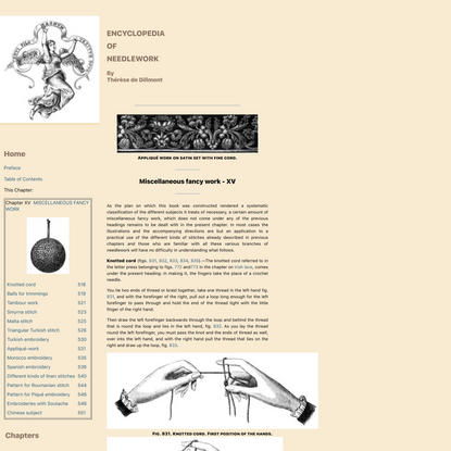 Miscellaneous Fancy Work - Chapter XV - Encyclopedia of Needlework,Knotted cord, balls, Tambour work, Smyrna stitch, Stitche...