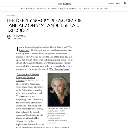 """The Deeply Wacky Pleasures of Jane Alison's """"Meander, Spiral, Explode"""""""