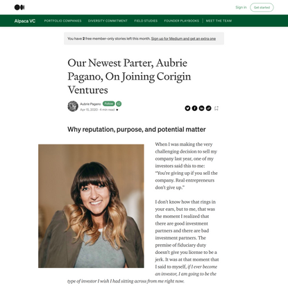 Our Newest Parter, Aubrie Pagano, On Joining Corigin Ventures