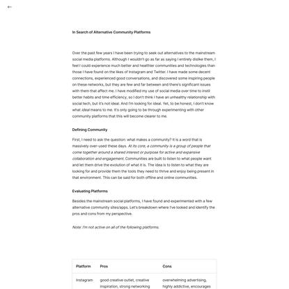 In Search of Alternative Community Platforms – Carl Barenbrug