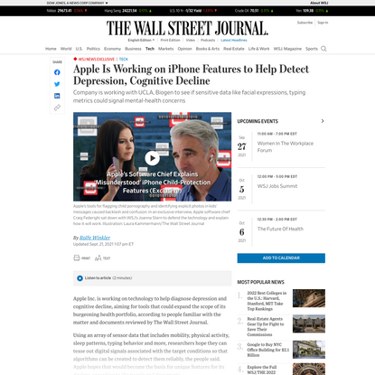 WSJ News Exclusive   Apple Is Working on iPhone Features to Help Detect Depression, Cognitive Decline