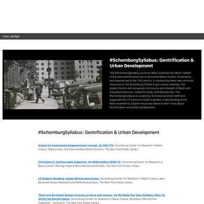 #SchomburgSyllabus: Gentrification & Urban Development