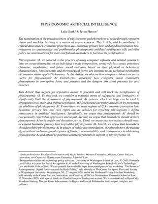 Physiognomic Artificial Intelligence - Luke Stark, Jevan Hutson