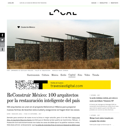 ReConstruir México: 100 arquitectos por la restauración inteligente del país