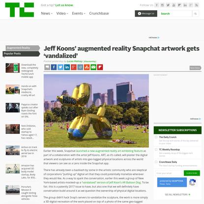 Jeff Koons' augmented reality Snapchat artwork gets 'vandalized'