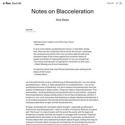 Notes on Blacceleration - Journal #87 December 2017 - e-flux