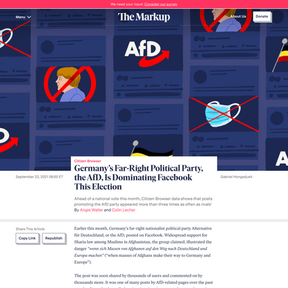 Germany's Far-Right Political Party, the AfD, Is Dominating Facebook This Election – The Markup