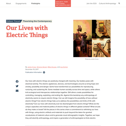 Our Lives with Electric Things