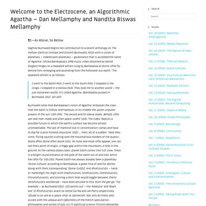 Welcome to the Electrocene, an Algorithmic Agartha – Dan Mellamphy and Nandita Biswas Mellamphy