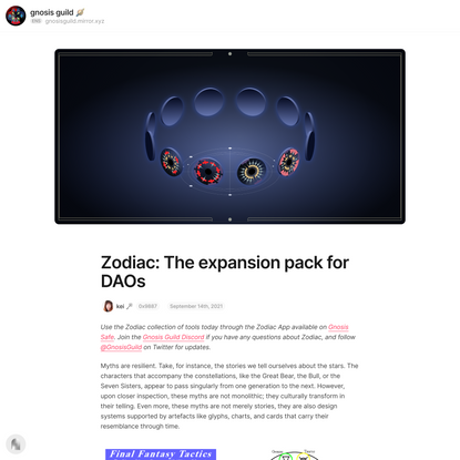 Zodiac: The expansion pack for DAOs — Mirror