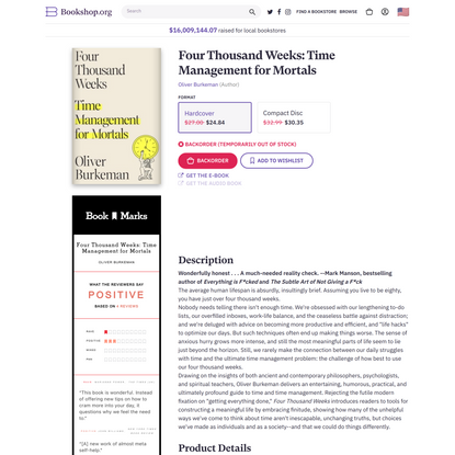 Four Thousand Weeks: Time Management for Mortals a book by Oliver Burkeman