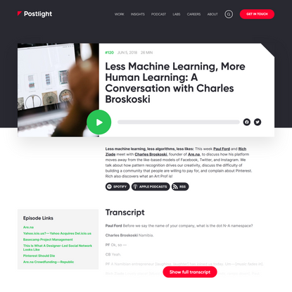 Less Machine Learning, More Human Learning: A Conversation with Charles Broskoski — Postlight — Digital Strategy, Design and...