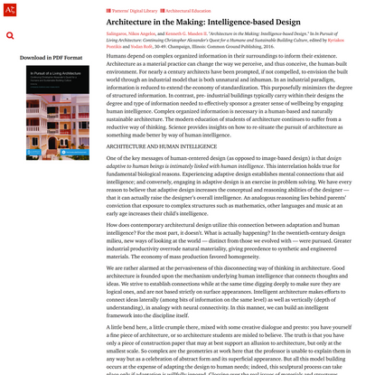 Architecture in the Making: Intelligence-based Design | Architecture's New Scientific Foundations
