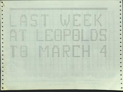 Leopold's Terminal Printouts, 1974