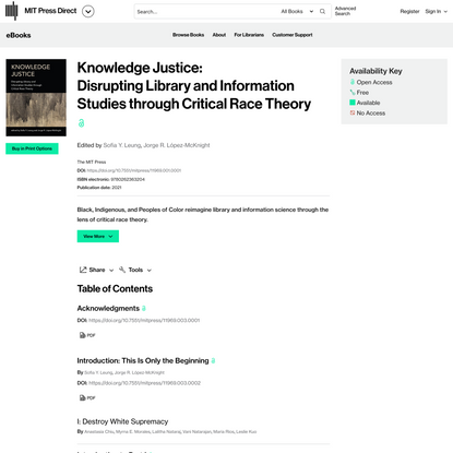Knowledge Justice: Disrupting Library and Information Studies through Critical Race Theory   Books Gateway   MIT Press