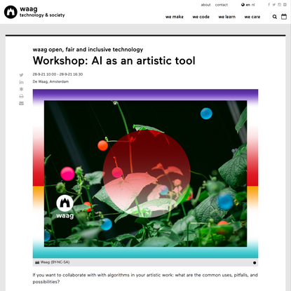 Workshop: AI as an artistic tool