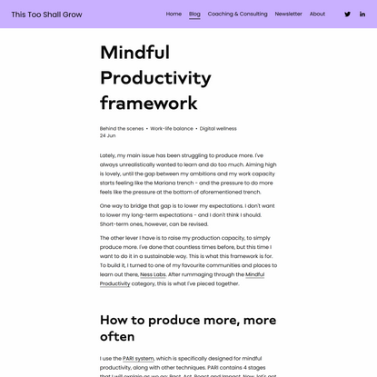 Mindful Productivity framework — This Too Shall Grow