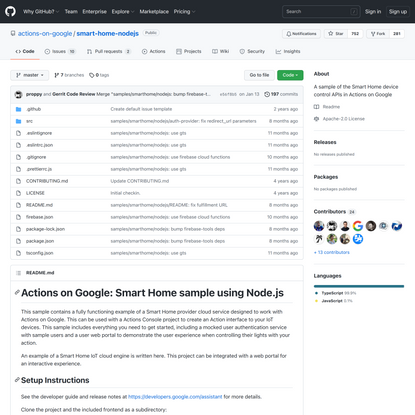 GitHub - actions-on-google/smart-home-nodejs: A sample of the Smart Home device control APIs in Actions on Google