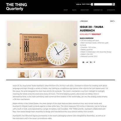 24-hour Wall Clock - Tauba Auerbach - Quarterly - Shop