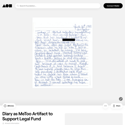 Diary as MeToo Artifact to Support Legal Fund | Foundation