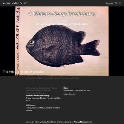 4 Waters-Deep Implicancy - Video & Film - e-flux