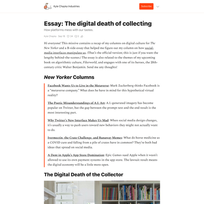 Essay: The digital death of collecting