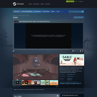 Sable on Steam