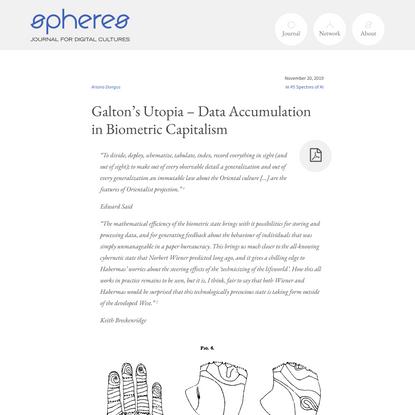 Galton's Utopia – Data Accumulation in Biometric Capitalism – spheres