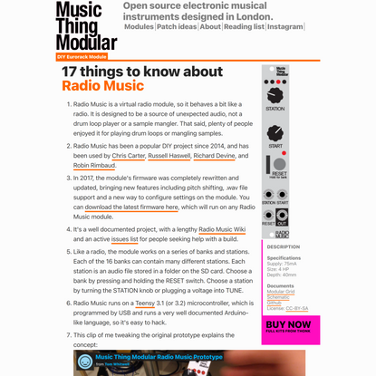 17 Things to Know about the Music Thing Radio Music Module