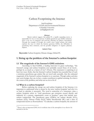 Carbon Footprinting The Internet