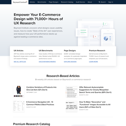 Researching the best ways to improve the online user experience - Baymard Institute